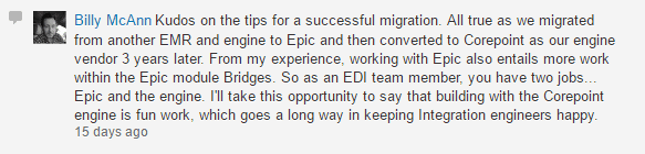 Comment from Billy McAnn, Interface Lead, University Health Shreveport, on the Corepoint Health LinkedIn page.